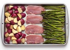 Sheet Pan Baked Parmesan Pork Chops Potatoes & Asparagus I kinda want to try this with chicken