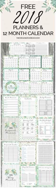 Free 2018 Planners and 12 Month Calendar