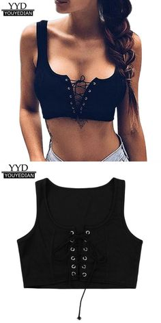 7568defd17d Summer short tank tops women  sexy strapless solid bandage cross lace-up  sleeveless cropped tops vest women girls