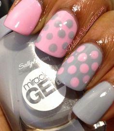 smartease and greyfitti dot nail art, polka dot nails Dot Nail Art, Polka Dot Nails, Pink Nails, Polka Dots, Cute Nails, Pretty Nails, Gel Nails French, Nail Design Video, Pretty Nail Designs