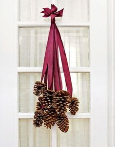 DIY pine cone door decorations for Christmas
