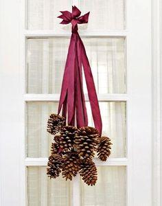 DIY pine cone door decorations for Christmas