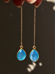 Blue Chalcedony Threader Earrings Gold ~ Small Stone earrings, Simple Delicate Gold Jewelry, Long Dangle Drop Earrings for Women Teardrops by LolaBelleGems on Etsy