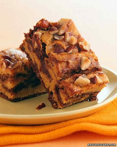 Chocolate and pumpkin make a frightfully gooey pair in these creamy pumpkin-swirl brownies.