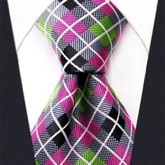 "S and W Executive Wardrobe Accessory , Handmade 100% Silk Jacquard Woven Gray Pink Green Checked Tie 3.4"" Classic Silk Jacquard Men's Necktie Tie S and W,http://www.amazon.com/dp/B00JQESAUI/ref=cm_sw_r_pi_dp_nmuEtb17C666VBWG"