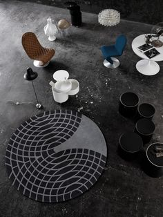 Panton Rug in grey and sand by Verpan. Design by Verner Panton.