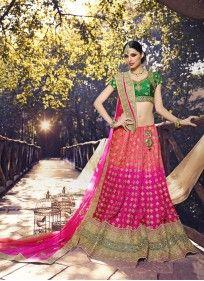 Net Hot Pink and Green Colored Designer Wedding Lehenga choli