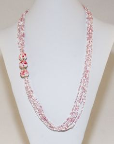 Pink and white multi-strand necklace with lampwork beads by Dinglefritz, $38.00 USD