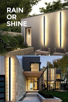 House Plans One Story, Facade House, Home Lighting, Wall Lighting, Design Case, Exterior Design, Future House, New Homes, Villa