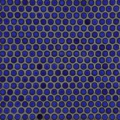 Deep Blue Penny Round Savoy Tile - dark grout