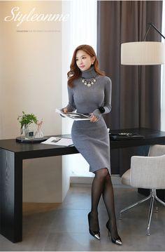 Side Slit Turtleneck Knit Dress - Korean Women's Fashion Shopping Mall, Styleonme. Asian Fashion, Girl Fashion, Fashion Outfits, Womens Fashion, Mode Kpop, Korean Dress, Fashion Videos, Beautiful Asian Women, Office Fashion