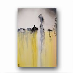 """Canvas Abstract Painting Minimalist Art Shabby Chic Style Large Original Painting Grey White &Yellow Painting Contemporary Art 36"""" by Day"""