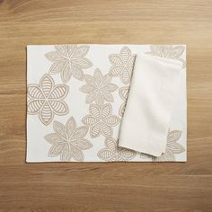 Joplin Embroidered Placemat and Helena Vanilla Linen Napkin | Crate and Barrel