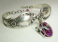 Dragonfly Spoon Bracelet, Heritage 1953, Fuchsia Paui Shell, White Pearls