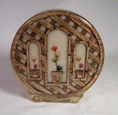 Vintage Napkin Holder Acrylic Lucite Resin Wood Trellis Straw Flowers Retro '60s