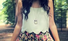 Scalloped shirt and floral skirt