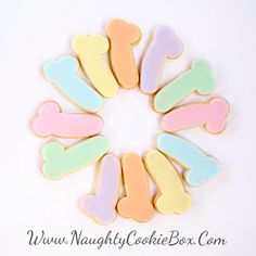 Dim: 1.5 x 3 1 Dozen Cookies  Scrumptious mini pastel penis cookies. Fit it all, in just ONE bite!! They come in a soft and feminine combination of Green, Pink, Orange, Yellow, Blue and Purple all in one pack! A perfect Easter Basket stuffer or a dainty and dirty tea party!  All orders REQUIRE A 2 WEEK LEAD TIME for production before shipment as each item is handcrafted and baked to order with lots of care. Rush Orders may possibly be accommodated with prior approval from an associate and…