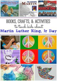 Inspiring crafts and activities to promote peace and diversity in honor of Martin Luther King, Jr. Love the recommended book list too!