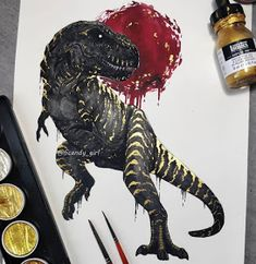T-Rex 🦖 ▪️ ▪️Didn't not expect i'd ever do T-Rex but here we are! 😄 And i enjoyed painting him more than i expected! Nice to step out… Creature Drawings, Animal Drawings, Cool Drawings, Petit Tattoo, Viking Art, Creature Design, Animal Paintings, T Rex, Ink Art