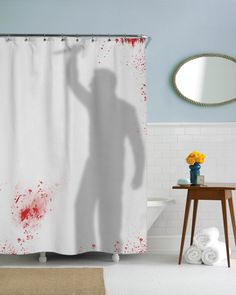 Knife Wielding Psycho Shower Curtain Fall Halloween Funny Curtains