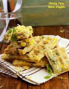 Cheesy Corn Rava Waffles recipe - Cheesy corn rawa waffles is a tongue tickling snack. Add the fruit salt just before you are ready to cook the waffles. Eat these waffles as soon as they are made! Waffle Recipes, Veg Recipes, Indian Food Recipes, Italian Recipes, Vegetarian Recipes, Snack Recipes, Cooking Recipes, Cooking Tips, Kitchens