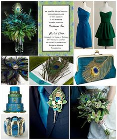 Peacock Wedding Theme...I like the colors but not so much the feathers.
