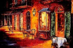 Art: French Quarter Cafe - SOLD by Artist Diane Millsap