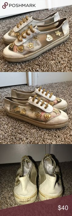 Vintage Stuart Weitzman Mesh Gold Star Heart Shoes Pre-owned. One of a kind vintage find. No size tag, but they fit like a size 6. Stuart Weitzman Shoes Sneakers