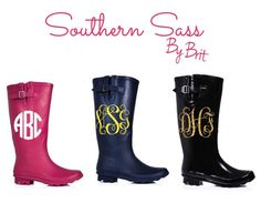 Monogrammed Rain Boots WIDE CALF by southernsassbybrit on Etsy