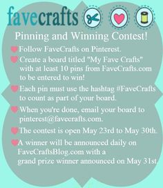 Pinning and Winning Contest #FaveCrafts