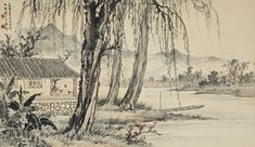 Huang Junbi (1898-1991) PAVILION BY THE RIVER IN KUNMING signed JUNBI, dated 1945, and with two seals of the artist ink and colour on paper, framed 56.3 by 97.3 cm. 22 1/8 by 38 ¼ in..  黃君璧 (1898-1991) 大觀樓一角 設色紙本 鏡框 一九四五年作  款識: 乙酉夏日寫昆明大觀樓一角。君璧。  鈐印:「黃君璧印」、「君翁」。 56.3 by 97.3 cm. 22 1/8 by 38 ¼ in.