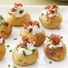 Mini stuffed potatoes are the perfect crowd-pleasing appetizer for any party or holiday gathering.