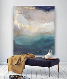 Minimalist scandi pottery, bench and oil painting with navy and copper accents - a . - Minimalist scandi pottery, bench and oil painting with navy and copper accents – a … # - Grand Art Mural, Navy And Copper, Copper Accents, Bachelor Of Fine Arts, Contemporary Abstract Art, Modern Art, Contemporary Artists, Large Wall Art, Large Abstract Wall Art