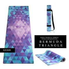 Yoga Mats Made Pretty!  Bright Beautiful Yoga Mat Yoga Towel Combo.  Yoga Strap/ Carrying Strap Included.  Union Yoga Mat in Bermuda Triangle.