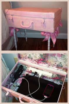 Turn an old suitcase into a shabby chic charging station by modge podging scrapbooking paper to the inside, painting it, add legs, and insert a power strip.