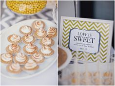 Signage at the Dessert Buffet: LOVE is SWEET - the 'wedding couple' invite you to take a treat