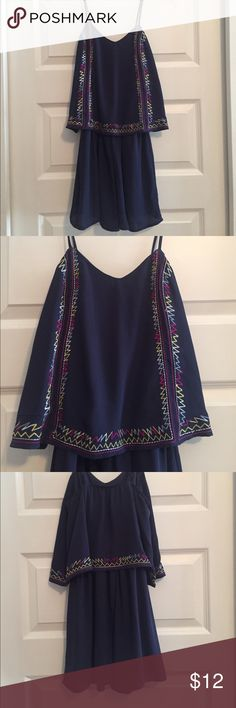 Navy multi romper Your cute navy romper with multi colored design on top. Can be dressed up or down. Worn once. Size XS! No rips, wear or stains. Like brand new! Xhilaration Other