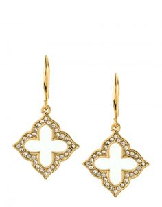 Spartina Jewelry Earrings Quatrefoil Drop Crystal