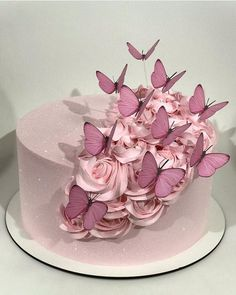 Elegant Birthday Cakes, 18th Birthday Cake, Beautiful Birthday Cakes, Birthday Cakes For Women, Birthday Cake For Women Elegant, Butterfly Birthday Cakes, Butterfly Cakes, Pretty Cakes, Cute Cakes