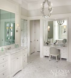 Check out chandelier! Calcutta Gold Marble Hex Floor, Transitional, bathroom, Atlanta Homes & Lifestyles Bad Inspiration, Bathroom Inspiration, Dream Bathrooms, Beautiful Bathrooms, Master Bathrooms, Chic Bathrooms, Bathroom With Makeup Vanity, Bathroom Vanities, Gray Vanity