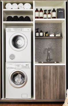 Small laundry room ideas: diy shelves and sink in tiny laundry area with stackable washer and dryer. room ideas small stackable Small Laundry Room Ideas - Space Saving Ideas for Tiny Laundry Rooms (Creative and Simple DIY) Tiny Laundry Rooms, Laundry Room Remodel, Laundry Closet, Laundry Room Organization, Laundry Storage, Bathroom Closet, Bathroom Small, Small Laundry Area, Bathroom Ideas