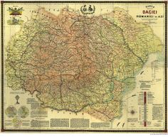 Scholastic Map of Greater Dacia and Romania by Grigore Bejan, Cartographic Service of the Army, 1919 - Source: Library of the Romanian Academy, from the collection of Nicolae Iorga History Of Romania, Historical Maps, Anthropology, Predator, Geology, Vintage World Maps, Prints, Genetics, Education