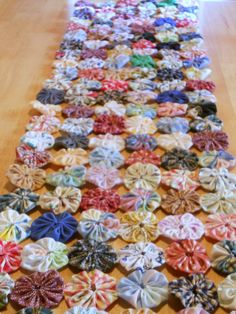 TODAY'S SPECIAL YoYo Table Runner Quilt Fabric by YoYoCottage, $45.00