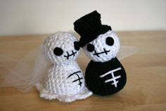 Crocheted Skeleton Bride and Groom made by KB Collections from a pattern in Creepy Cute Crochet by Christen Haden, $20.00