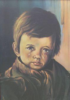 Quadro menino da lágrima, parecia uma epidemia, toda casa tinha, as vezes até estabelecimentos comerciais. Ainda bem que minha mãe não curtia quadros.
