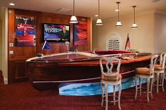 Wooden boat as bar in the man cave? Very sexy. Might want to change those stools though, seriously. Boat Furniture, Recycled Furniture, Diy Furniture, Chris Craft Boats, Old Boats, Wooden Boats, Beach Cottages, Decoration, Man Cave