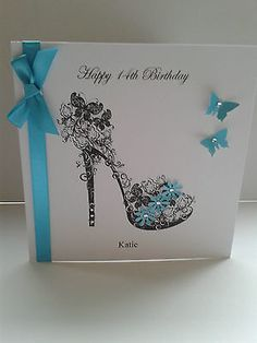 Handmade mum, sister, daughter, or birthday shoe card personalized Daughter Birthday Cards, Birthday Cards For Women, Birthday Cards For Mum, Handmade Birthday Cards, Greeting Cards Handmade, Personalised Cards, Female Birthday Cards, 21 Cards, Tattered Lace Cards