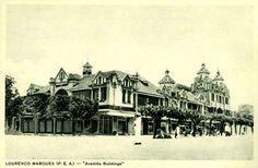 Os Avenida Buildings (que muitos conhecem como Prédio Pott) na baixa de Lourenço Marques, meados dos anos 1920. O edifício hoje está em ruínas, dando um ar assustador ao centro mais nobre da baixa de Maputo.