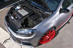 "VW Golf 6 R - Matt Grey & United Red Räder: OZ Ultraleggera Custom Painted - Alufelgen VA 8.5 x 20"" mit 235/25/20 HA 8.5 x 20"" mit 235/25/20 grey red"
