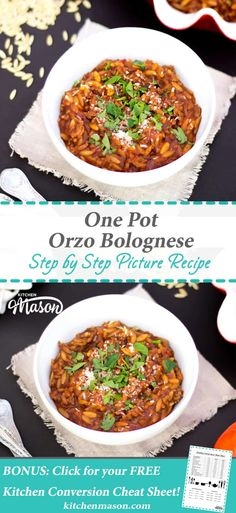 This amazing One Pot Orzo Bolognese is seriously delicious! It boasts big flavour with zero fuss, minimal effort & just one pot. Easy Mince Recipes, Healthy Beef Recipes, Orzo Recipes, Fun Easy Recipes, Meat Recipes, Vegetarian Recipes, Easy Meals, Cooking Recipes, Recipes For Turkey Mince